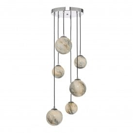 MIK0650 Mikara 6 Light Cluster Ceiling Pendant in Polished Chrome and Marble Effect Finish