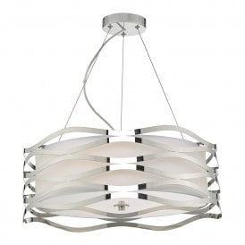 MIZ0350 Mizella 3 Light Ceiling Pendant in Polished Chrome Finish with Fabric Inner and Glass Diffuser