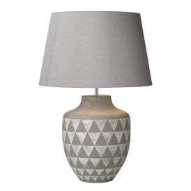 MUL4239 Mulan Single Light Ceramic Table Lamp Base In Grey And White Finish
