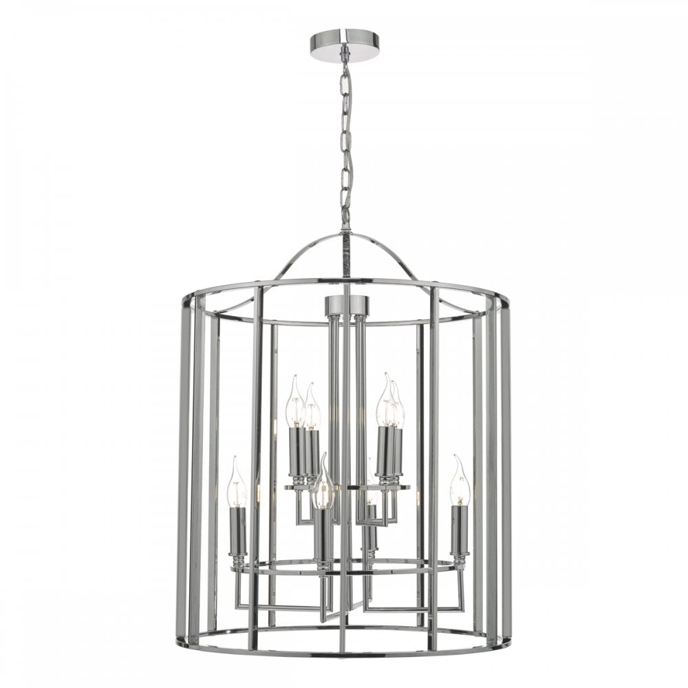 sale retailer 27c3f 38a4f MYK0850 Myka 8 Light Indoor Lantern Pendant in Polished Chrome Finish