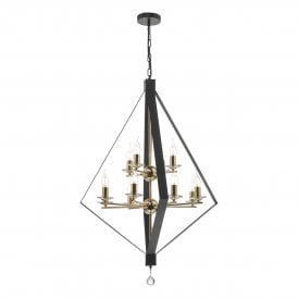 NEY1254 Neyah 12 Light Ceiling Pendant In Black, Gold and Clear Crystal Finish