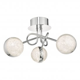 NYM5350 Nyma 3 Light LED Semi Flush Ceiling Fitting In Polished Chrome Finish