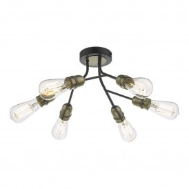 REM0654 Remy 6 Light Semi Flush Ceiling Fitting in Black and Antique Brass Finish