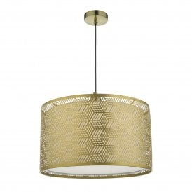 TIN6535 Tino Easy Fit Metal Pendant Shade in Matt Gold Finish with Fabric Cotton Drum Inner