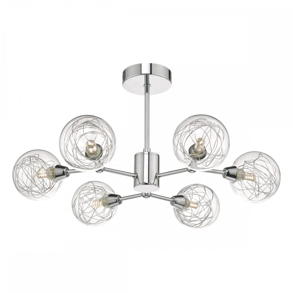 cheap for discount af168 745f3 TYK6450 Tyka 6 Light Semi Flush Ceiling Fitting In Polished Chrome Finish  With Decorative Glass Shades