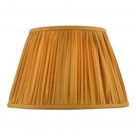 ULY1626 Ulyana 40cm Yellow Ochre Faux Silk Tapered Pleat Drum Shade
