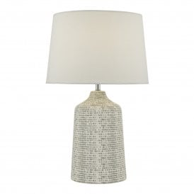 VON4239 Vondra Single Light Ceramic Table Lamp in Grey Satin Finish Complete with Ivory Linen Shade