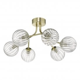 YIS6435 Yiska 6 Light Semi Flush Ceiling Fitting In Soft Gold Finish With Ribbed Glass Shades