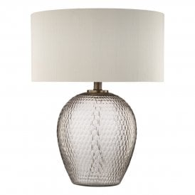 ZHA4293 Zhamo Single Light Table Lamp With Rose Tinted Glass Base and Antique Bronze Detail