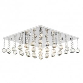 ABA5050 Abacus 5 Light Flush Ceiling Fitting In Polished Chrome And Crystal Glass Finish