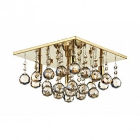 ABA5240 Abacus 4 Light Halogen Flush Ceiling Fitting in French Gold Finish