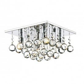 ABA5250 Abacus 4 Light Halogen Flush Ceiling Fitting in Polished Chrome Finish