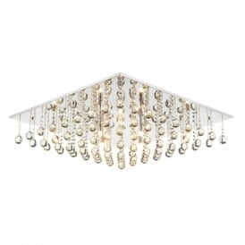Abacus 8 Light Flush Ceiling Fitting In Polished Chrome And Crystal Glass Finish