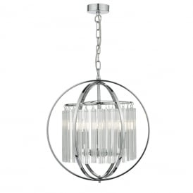 Abdul 3 Light Ceiling Pendant In Polished Chrome And Clear Crystal Finish