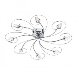 ABO4850 Abode Large 8 Light Ceiling in Polished Chrome with Crystal Shades