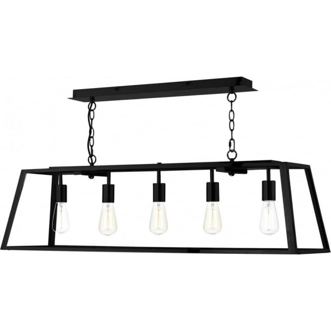 Dar lighting academy large 5 light ceiling pendant in a black finish academy large 5 light ceiling pendant in a black finish with clear glass diffuser aloadofball Choice Image