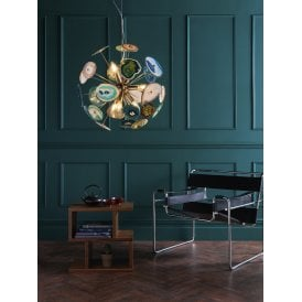 ACH1355 Achates 9 Light Ceiling Pendant in Polished French Gold Finish with Agate Detailing