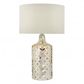 Acquila Single Light Table Lamp In Natural Shell And Mirror Finish With Cream Faux Silk Shade