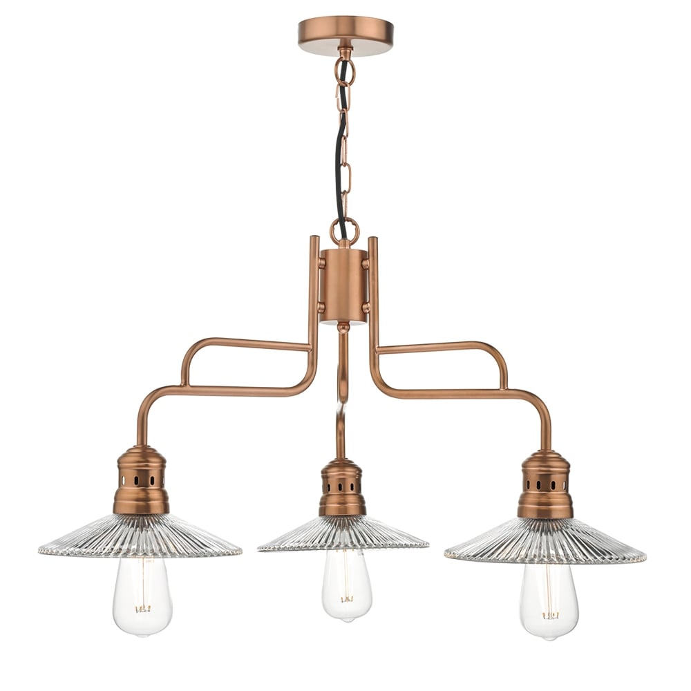 Adeline 3 Light Ceiling Pendant In Copper Finish With Glass Shades