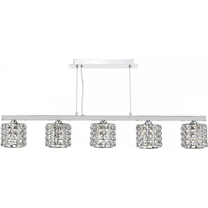 Dar Lighting Agneta 5 Light Ceiling Pendant In Polished Chrome And Crystal Glass Finish