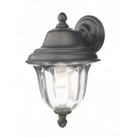 ALD1635 Aldgate Black Gold Outdoor Wall Light With Clear Ribbed Glass