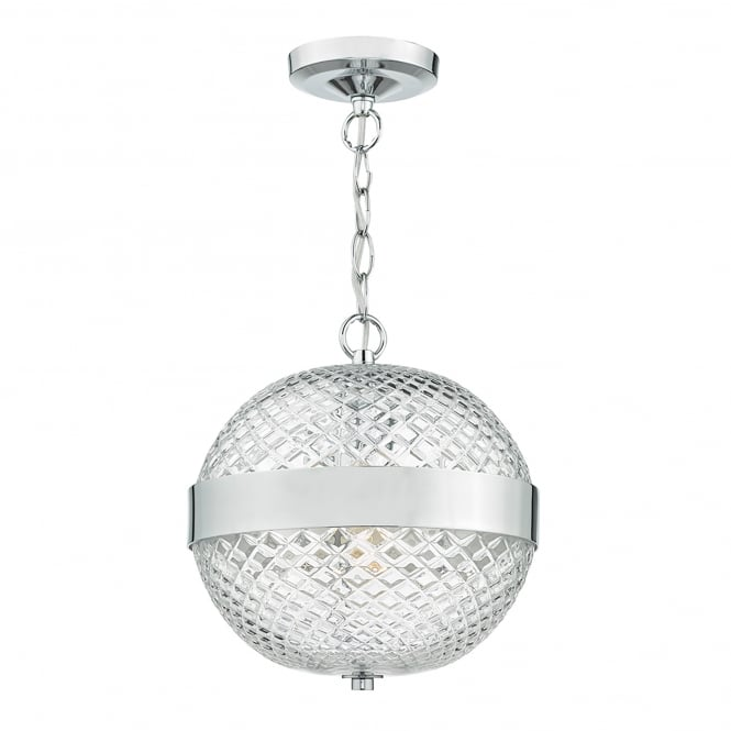 Dar Lighting Alexa Single Light Ceiling Pendant In Polished Chrome And Clear Glass Finish