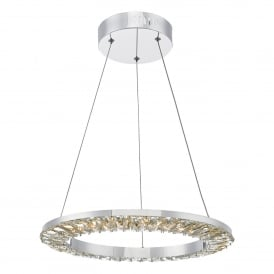 ALT0150 Altamura Single LED Dimmable Ceiling Pendant in Stainless Steel Finish with Crystal