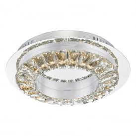 ALT5250 Altamura Single Dimmable LED Flush Ceiling Fitting in Stainless Steel and Crystal Finish