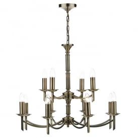 Ambassador 12 Light Ceiling Fitting in Antique Brass Finish