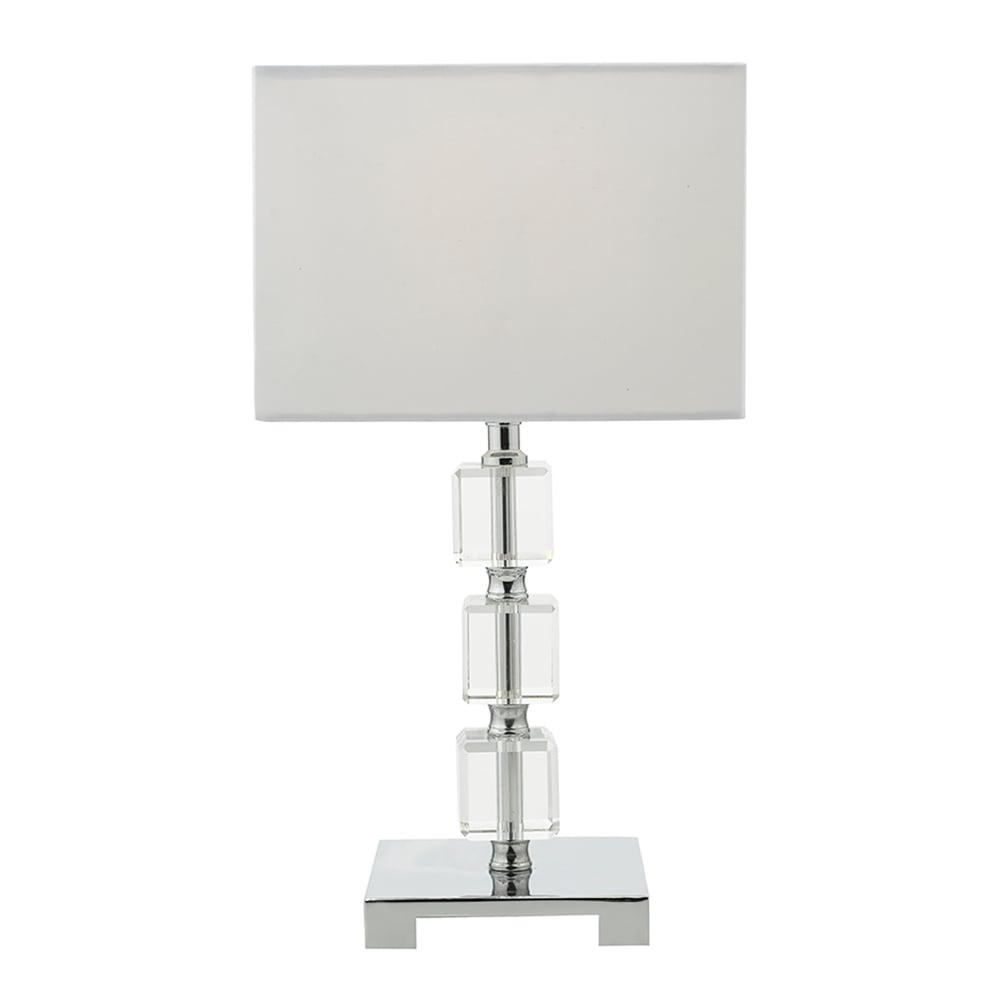 Amira Single Light Polished Chrome And Crystal Table Lamp With White Cotton  Shade