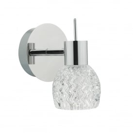 Anika Single Light LED Wall Fitting In Polished Chrome And Clear Glass Finish
