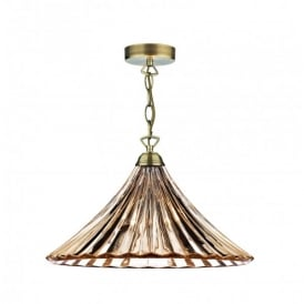 Ardeche Antique Brass Single Light Ceiling Pendant with Amber Glass