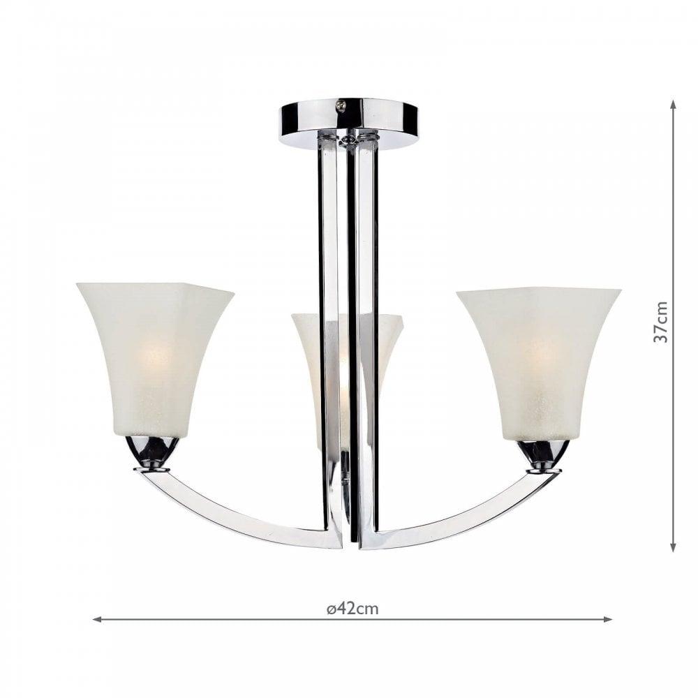 Dar Lighting Arl0350 Arlington 3 Light Ceiling Fitting In Polished Chrome Finish Castlegate Lights