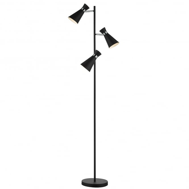 Dar Lighting Ashworth 3 Light Floor Lamp In Black And Polished Chrome Finish
