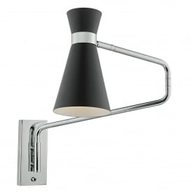 Dar wall lights available at official stockist castlegate lights ashworth single light adjustable wall fitting in soft matt black and polished chrome finish audiocablefo
