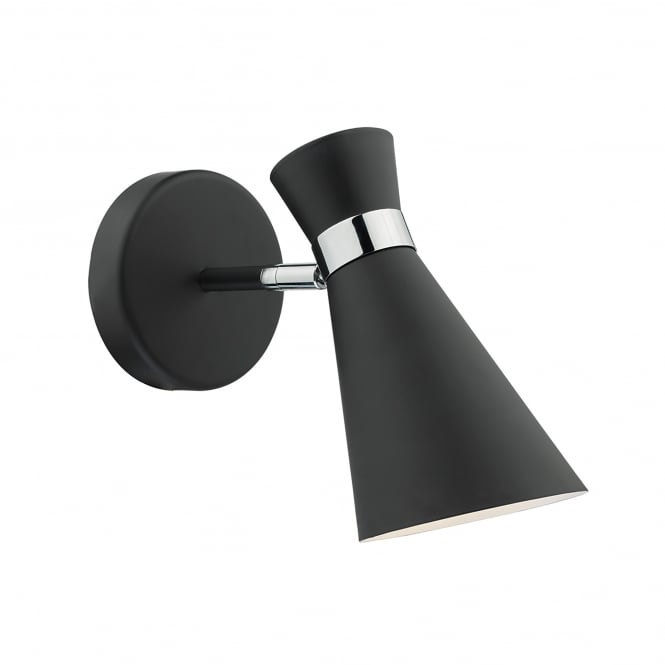 Dar Lighting Ashworth Single Light Switched Wall Fitting In Black And Polished Chrome Finish