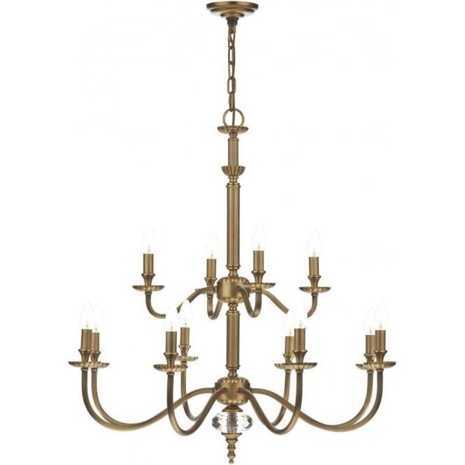 Dar lighting atlanta 12 light chandelier in a luxury pale brass atlanta 12 light chandelier in a luxury pale brass finish aloadofball Image collections