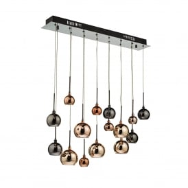 AUR6264 Aurelia 15 Light Low Voltage Halogen Bar Pendant in Black Chrome Finish