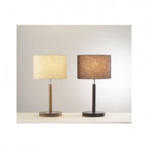 Endon lighting arinto single light table lamp in antique chocolate avenue light or dark wood table lamp with shade aloadofball Choice Image