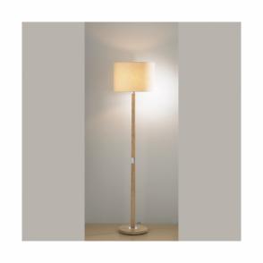 Avenue Single Light Wood Effect Floor Lamp With Cream Shade