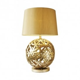 BAL4263 Balthazar Single Light Table Lamp In Antique Gold Finish Complete With Gold Faux Silk Shade