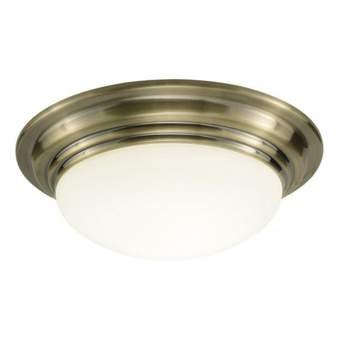 Dar Lighting Barclay Single Light Bathroom Flush Ceiling Fitting in Antique Brass