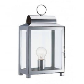 Box Single Light Table Lamp in a Stainless Steel Finish
