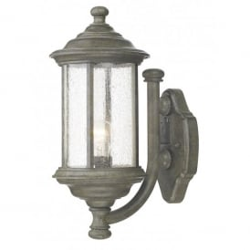 Brompton Single Light Outdoor Wall Fixture in Old Iron with Seeded Glass