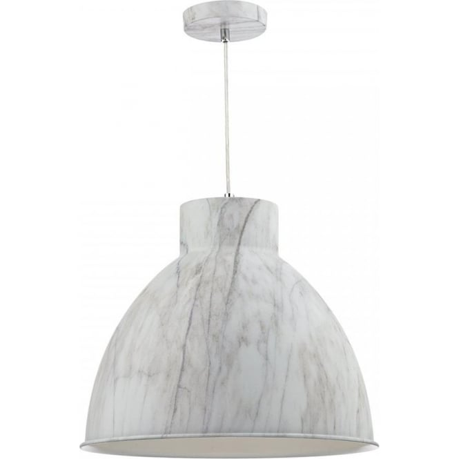 Dar Lighting Buffalo Single Light Ceiling Pendant With Grey Marble Effect Metal Shade