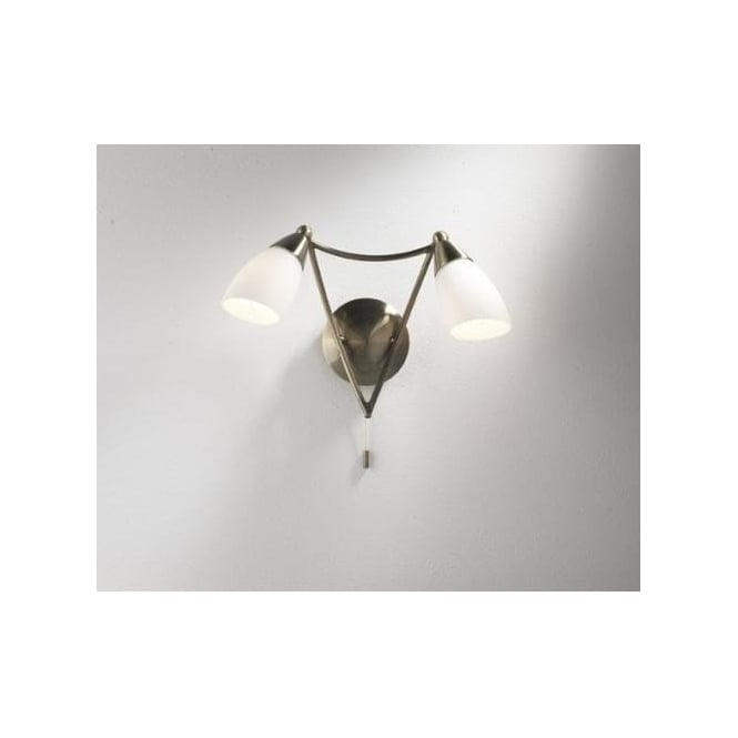 Dar Lighting Bureau 2 Light Switched Wall Fitting In Antique Brass Finish With Opal Glass Shades