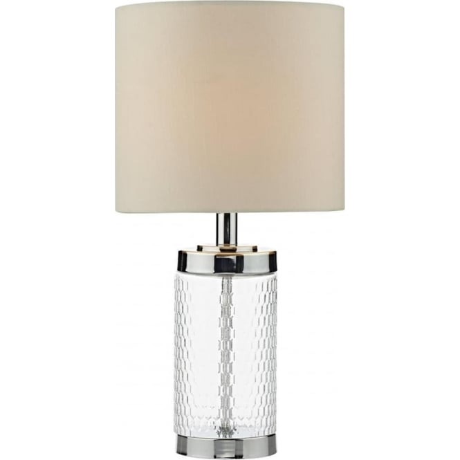 Dar Lighting Busby Single Light Table Lamp in Polished Chrome Finish Complete with Cream Faux Silk Shade