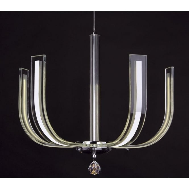 Dar Lighting Carina 4 Light LED Contemporary Chandelier with Clear Glass and Crystal