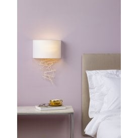 CEV0735 Cevero Single Light Wall Fitting In Gold Finish With Ivory Faux Silk Shade