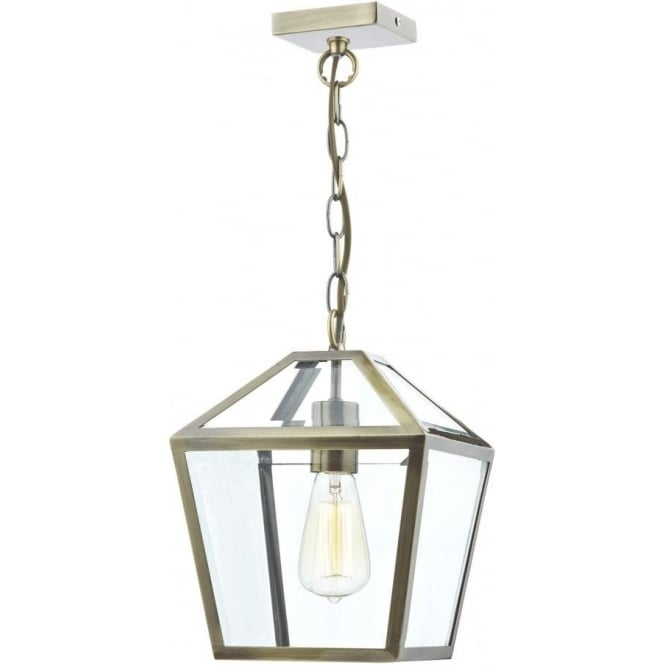 Dar Lighting Churchill Single Light Indoor Lantern with an Antique Brass Finish